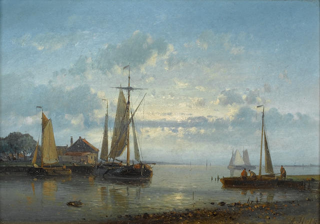 Abraham Hulk, Snr (Dutch, 1813-1897) Setting off for the fishing grounds; A calm anchorage each 17.8