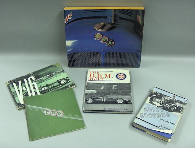 A good selection of ERA, Mays and BRM motoring books,