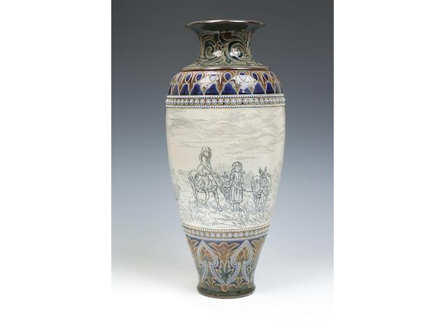 Hannah Barlow A large Doulton Lambeth stoneware vase
