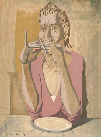 Eric Malthouse (British, 1914-1997) Figure with plate