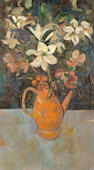 Stella  Steyn (British, 1907-1987) Vase of flowers in teapot