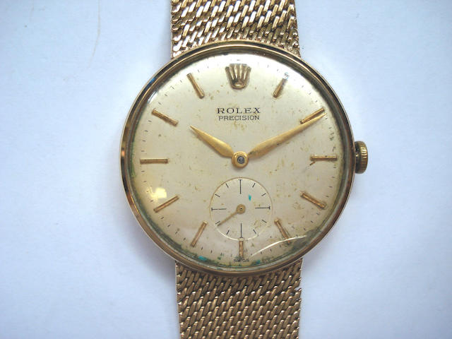 Rolex. A 9ct gold gents bracelet watch Birmingham Hallmark for 1964