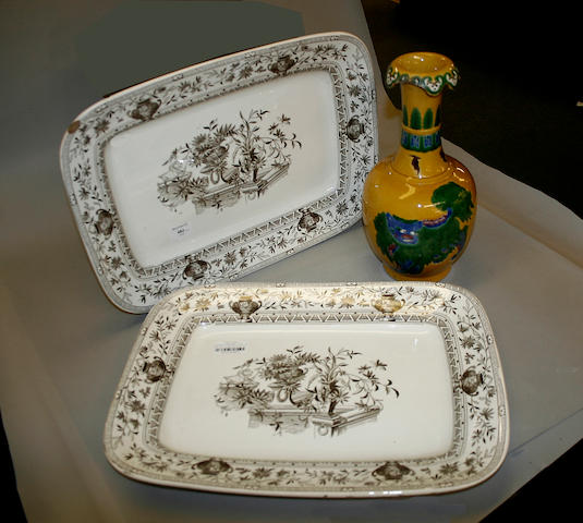 Two brown and white Honfleur pattern meat plates 19th century,