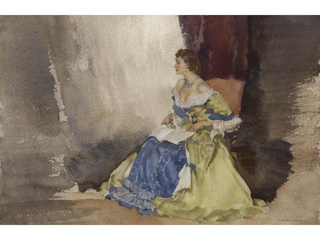 "Sir William Russell Flint R.A., P.R.W.S. (British, 1880-1969) ""Hazel Jennings as Mistress Knapp (One of Samuel Pepys' actress friends) in 'And So To Bed'"","