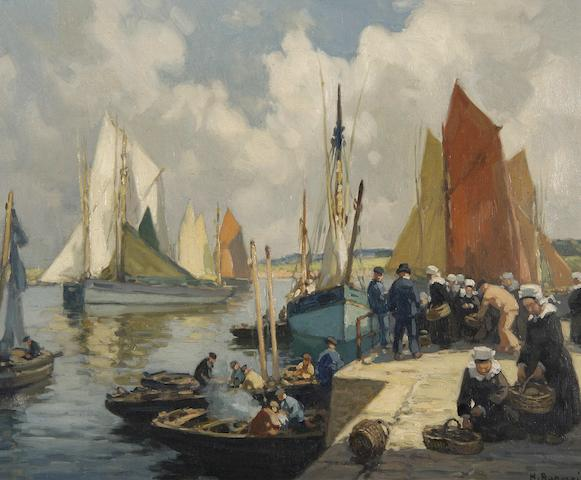 Henri Alphonse Barnoin  (French, 1882-1935) Port de Concarneau, and another similar, a pair,