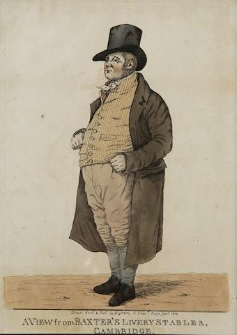 Robert Dighton (British, 1752-1814) Caricatures to include 'A Lawyer and his Agent', 'A View near Hyde Park Corner', 'I vont take a farden less', 'The Specious Orator' and 'A View from Baxter's Livery Stables, Cambridge' - portrait of Mr Baxter,