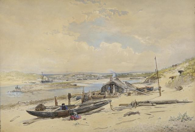 "Follower of Copley Fielding (British, 1787-1855) ""Hayle, Cornwall"","