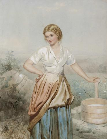 Francis William Topham (British, 1808-1877) The milkmaid,