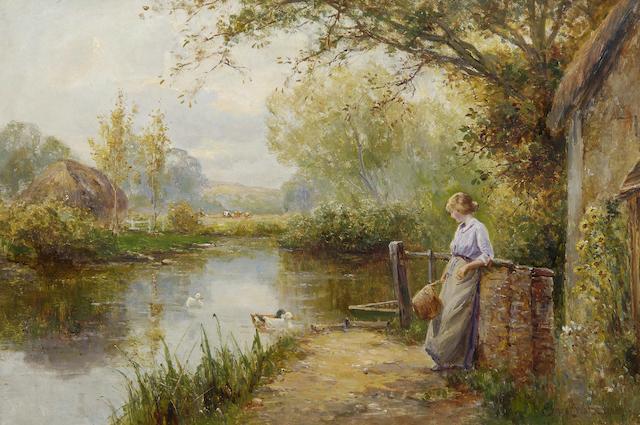 Ernest Walbourn (British, 1872-1927) At the duck pond,