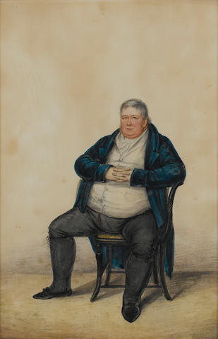 (n/a) Albin Roberts Burt (British, 1783-1842) Three portraits of Gentlemen; one, seated with his dog beside him, wearing blue coat, white waistcoat, frilled chemise and yellow trousers; another, seated holding rolled paper with a green curtain in the background, wearing blue jacket, black waistcoat with pink carnation at his breast, frilled chemise and black trousers; the other, seated, wearing blue coat, white waistcoat, chemise, tied cravat and pantaloons