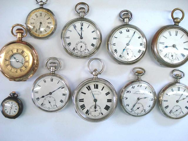 A lot of 10 various pocket watches and a pocket watch movement by Charles Frodsham with Up and Down dial (11)