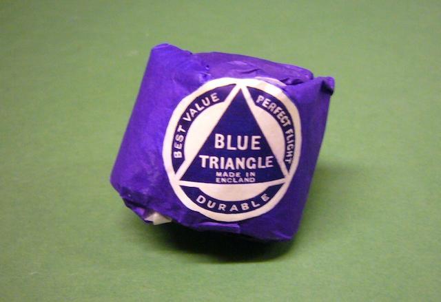 A Spalding Blue Triangle golf ball