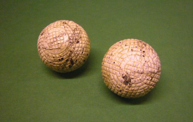 A John Morris 'Morris Hoylake' moulded mesh gutta-percha golf ball circa 1890s