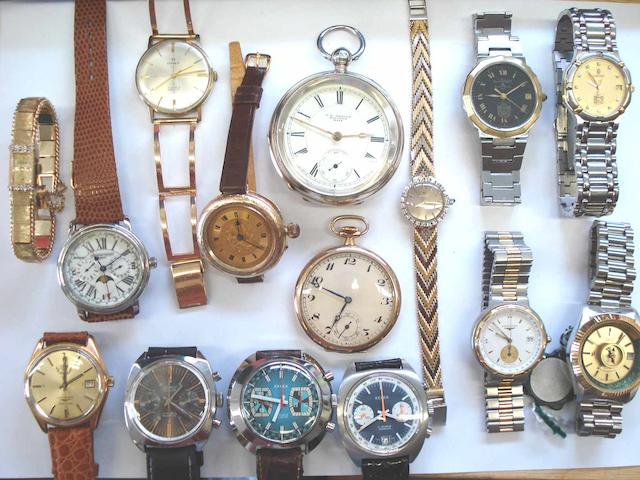 A lot of 14 various wristwatches and 2 various pocket watches  16