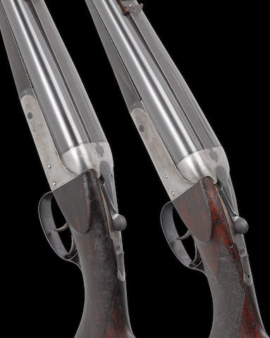 A pair of .450 (3½in. No. 2 Nitro Express) boxlock ejector rifles by J. Lang, no. 16748/9 With leather slips