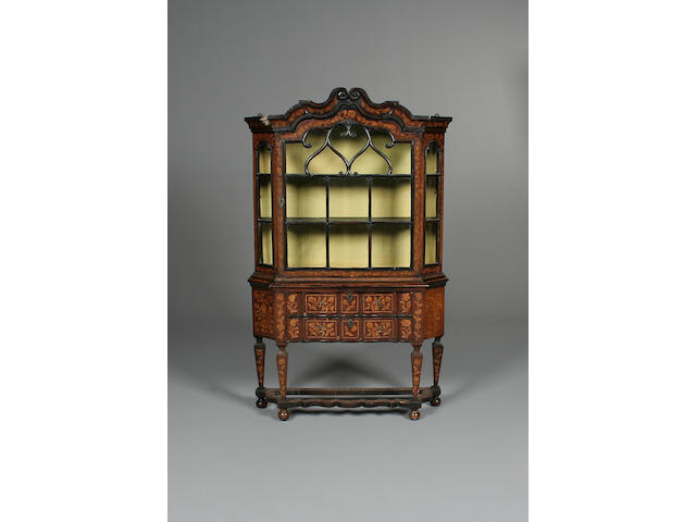 A 19th century Dutch marquetry display cabinet