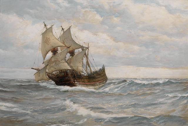 Montague Dawson:'The half moon; Melody in silver'