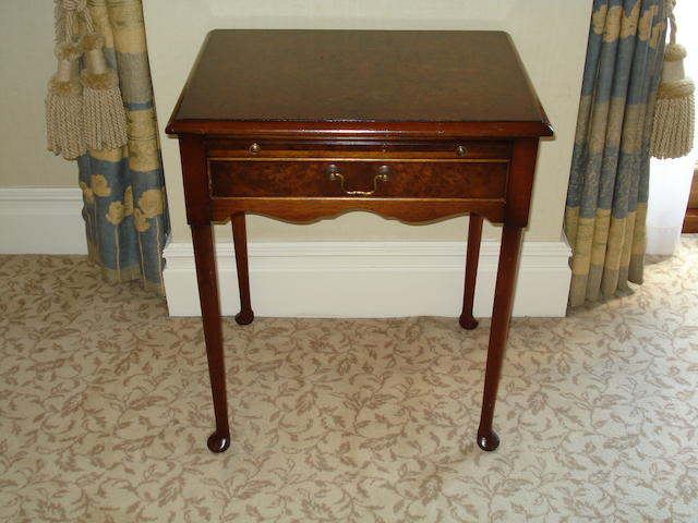 A pair of burr walnut and walnut side tables