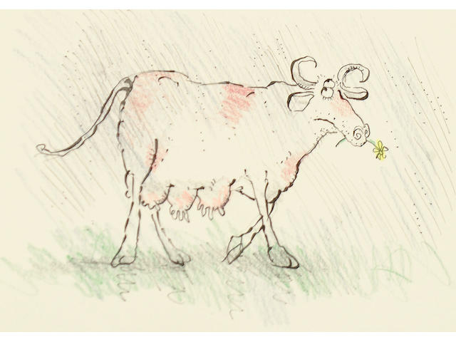 Ronald Searle (British, born 1920) Cow with a yellow daisy