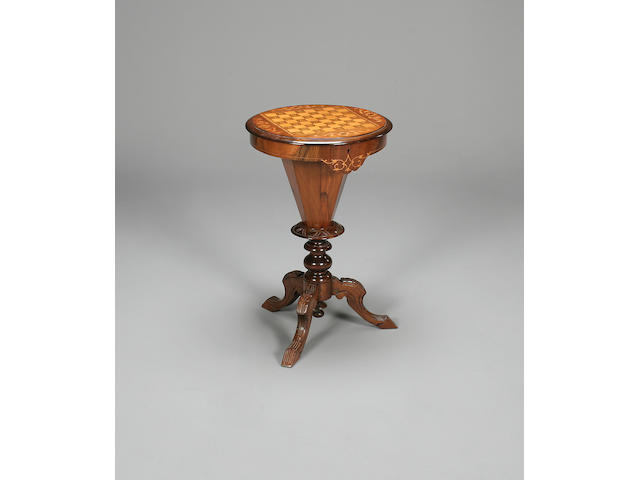 A Victorian games games/sewing table,