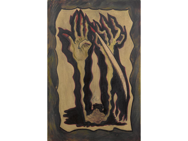 Sadequain (Pakistan, 1937-1987) Figure with elongated hands