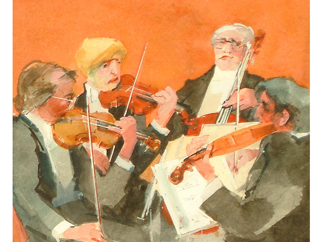 Frank Archer (British, 1912-1995) The quartet (together with a watercolour by Herbert Neville (2))