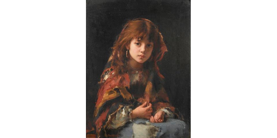 Alexei Alexeevich Harlamoff (Russian, 1840-1925) Study of a girl