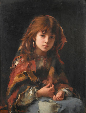 Alexei Alexeevich Harlamoff (Russian, 1840-1925) Portrait of a young girl in a shawl 65 x 49 cm. (25 1/2 x 19 1/4 in.)