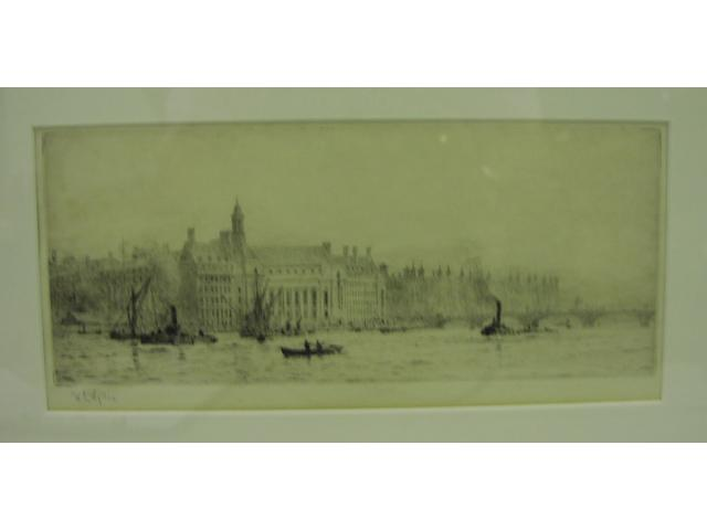 William Lionel Wyllie, R.A., R.E. (British, 1851-1931) Westminster Bridge with County Hall and St.Thomas' Hospital