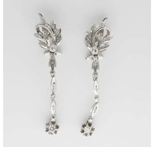 A pair of diamond foliate cluster earclips,
