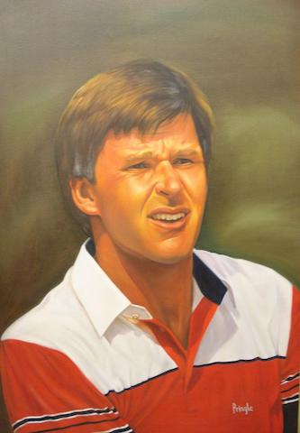 Nick Faldo: An unsigned oil on canvas, circa 1990 Framed. 36 x 24 inches