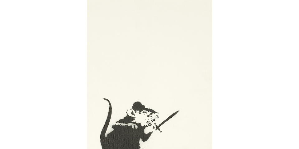 Banksy (British, born 1975) Untitled, Rat and Sword, 2005 stencil spray paint on canvas