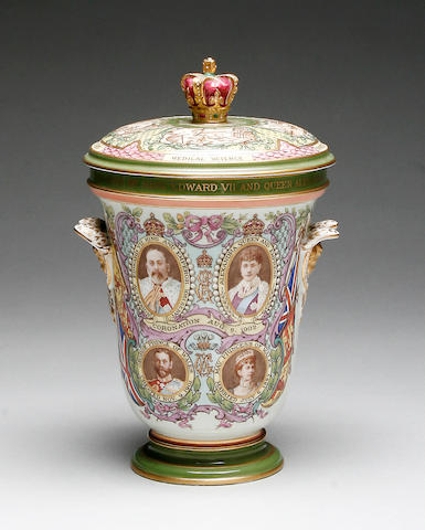 A Copeland King Edward VII and Queen Alexandra vase with cover 1902,
