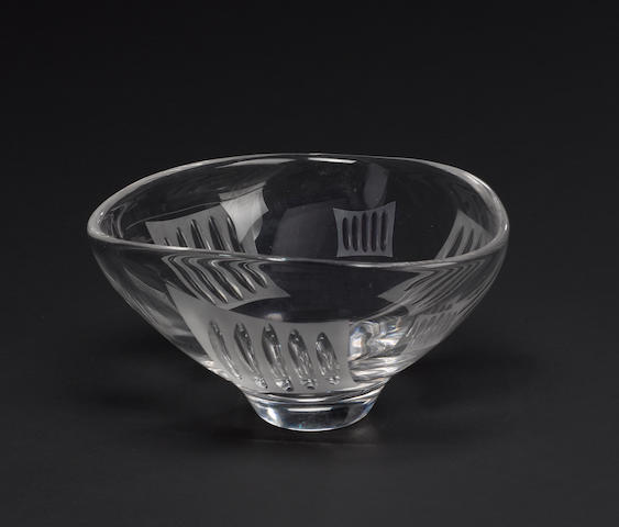 Ernest Gordon for Kosta, a cut glass bowl designed circa