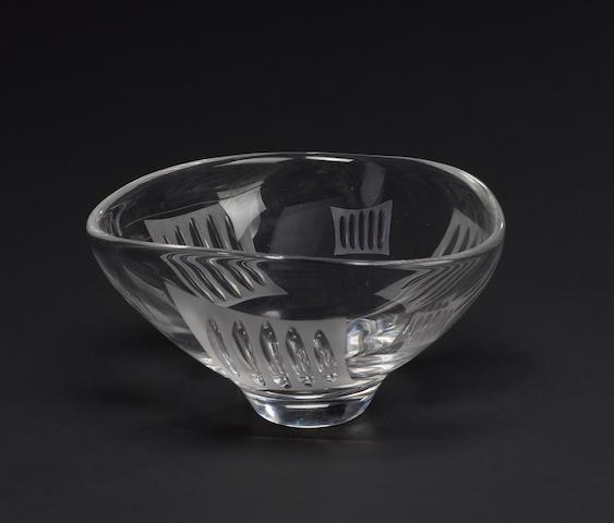 Ernest Gordon for Kosta, a cut glass bowl designed circa