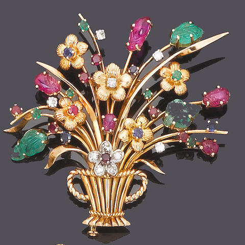 A multi gem-set giardinetto brooch and earring suite