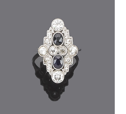 An art deco sapphire and diamond plaque ring,