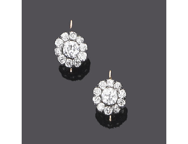 A pair of late 19th century diamond cluster earrings,