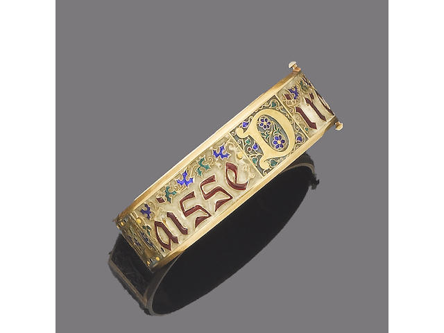 A gold and enamel hinged bangle, by Falize,