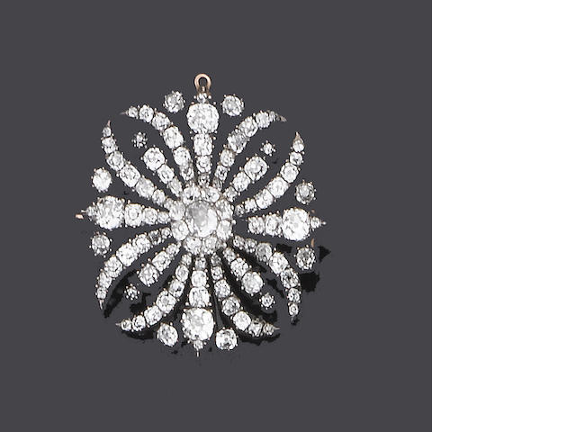 An early 19th century diamond brooch/pendant,