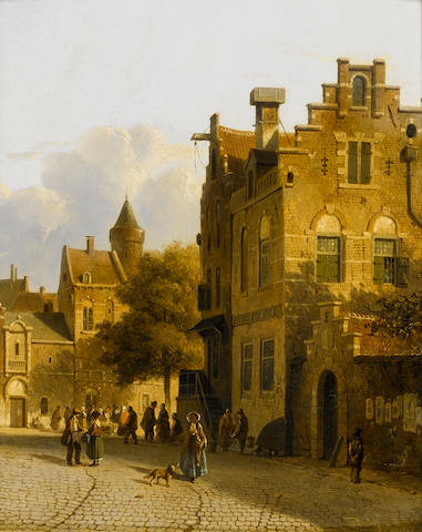 Adrianus Eversen (Dutch, 1818-1897) A busy day in a Dutch town 22.8 x 38.8 cm. (9 x 15 1/4 in.)