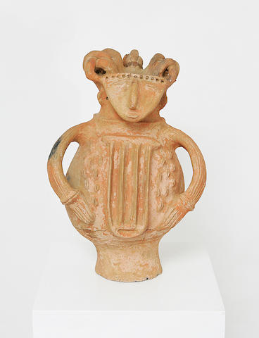 A Qua unglazed ceramic figure designed as a 'pseudo-receptacle';
