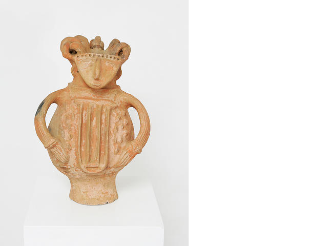 A Qua unglazed ceramic figure (figurative pseudo receptacle),