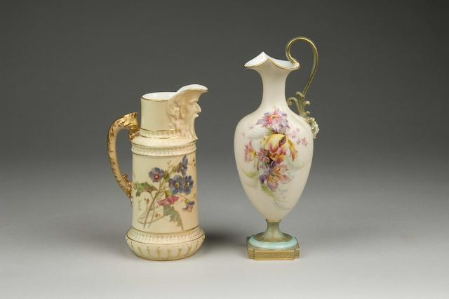 A Royal Worcester blush ivory jug & floral decorated ewer (2)