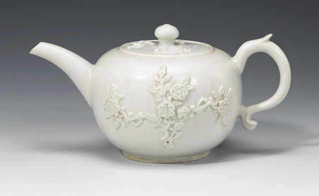 A fine Bow white teapot and cover circa 1753-55