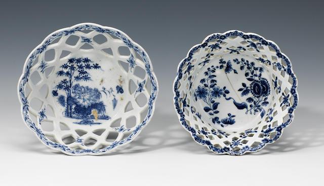 Two Bow baskets circa 1755-65