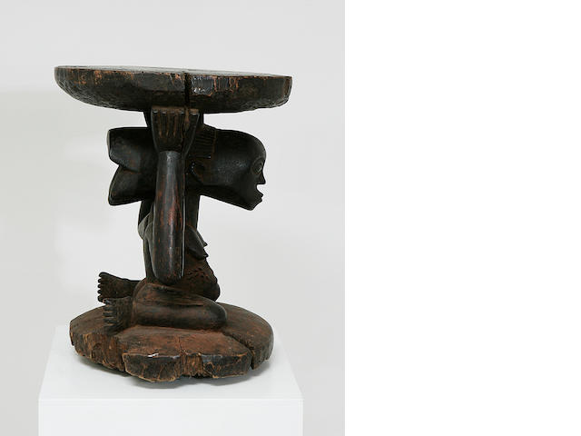 A fine Luba wood stool for a chief,