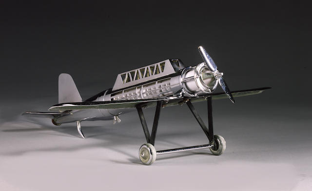 A fine Gentleman's desk lamp in the form of an aeroplane, English, 1930s,