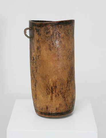 A Turkana cylindrical wood milk pot,