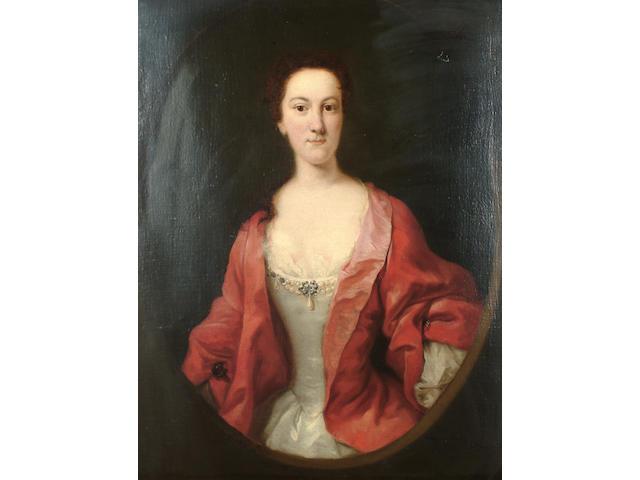 Circle of Thomas Hudson (Devonshire 1701-1779 Twickenham) Portrait of a lady, said to be Caroline Digby, 91.7 x 71.7cm.
